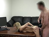 Casting guy sprays her pretty face with a hot load of cum