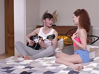 Emotional natural curly redhead Sheylley Bliss is poked doggy style