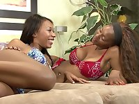 Seductive black babe gets wet when she hears that her bestie like girls