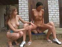 Beata watches her brother fucking his girlfriend outside