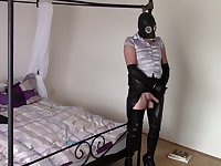 My friend performs tasks (Handcuffs, noose, gas mask and anal plug)