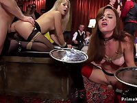 Slaves serving and ass fucking banging at party