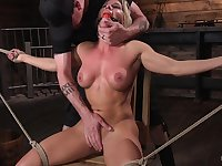 Ariel X gets her shaved holes filled with big friend's sex toys