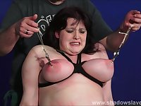 Bbw slave Emmas tit torture and breast caning of fat pain