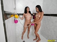 Horny petite lesbians Sophia Leone and Vienna Black in bathroom
