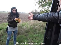 Hardcore pussy pounding and a cum shot in a car with Lucia