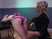 Lesbian strap on rough anal with Leya Falcon and Ariel X