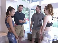 Lily Adams and her hot girlfriend seduce these lucky dudes