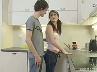 Pigtailed natural cowgirl Lena G rides dick on the kitchen floor for orgasm