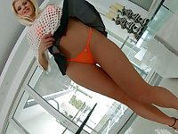 Jaw dropping blond babe Lynna Nilsson shows off her gaped pinkish hole