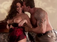 Bombshell long haired MILF Victoria Valentino rides like a nympho