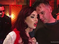 Redhead bitch with big rack Amber Ivy takes double cock penetration