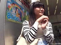 Shy and cute Japanese babe picked up on the street and cum sprayed