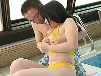 Comely small titted oriental Yukie Kawamura in kinky porn video outside