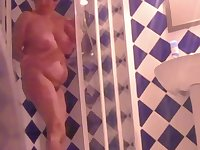 My 62 years old wife ( Austria) unaware of the hidden camera in our bathroom.