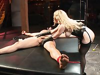 Stunning bitch in corset Aiden Starr bangs tied up and crucified man on the table