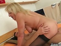 Old, Blond Granny Fucks a Man.