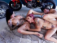 Excellent hard shag in threesome for two tattooed wives