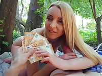 Intriguing sexual fun for cash with a young European