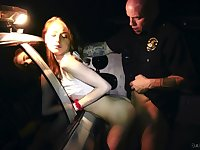 Sexy bully Hannah Hays is fucked outdoor by bald headed cop