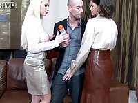 Glamour sluts in nylon stockings fucked in threesome - Chintia and Donna