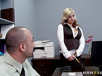 Sex in the office with a big dick boss and secretary Sarah Vandella