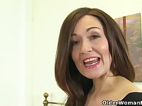Mature women are showing their hairy pussies in front of the camera, while masturbating wildly