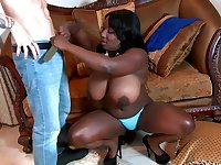 Juicy ebony pussy drilled by white boy.