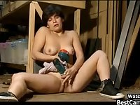 Horny Girl Masturbates In Garage With Drill WTF