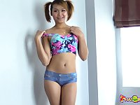 Natural pigtailed Asian chick Roong is banged doggy and missionary