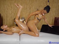 Naked females use massage oil for their soft lesbian tryout