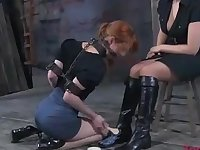 Calico moans in ecstasy while being punished by her dominatrix
