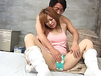 Pussy eating turns on a Japanese babe and she turns around for sex