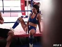 Fitness milf Jasmine Jae gets intimate with her boxing coach
