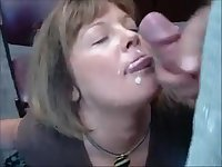 Mature secretary sucking dick and get facial