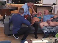 Sexy Hairy Housewife Gets Fucked In Both Holes By Three Guys And All Her Boyfriend Can Do Is Watch. - MatureNL