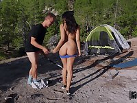 Full outdoor passion during camping trip with a curvy teen on fire