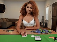 Curly woman plays with the dick in POV scenes after a poker game