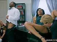 Tight females swap and share in crazy foursome role play